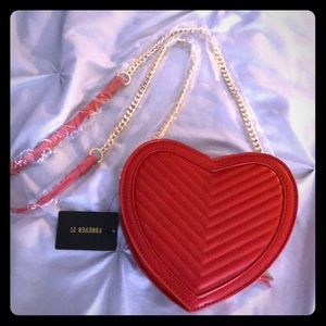 Forever 21 Quilted heart shaped red bag NEW